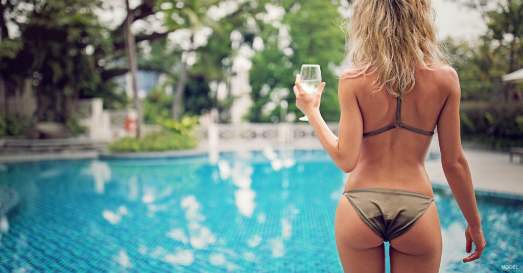 Woman in a bathing suit after Sculptra® Butt Lift